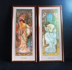 "Lot of two Alphonse Mucha Mirror Painted works from the collection ""Times of the Day"": 1 - Reverie du Soir, 2 -  ""Repos de la nuit"" 1970s"