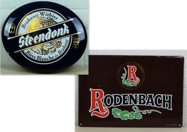 Enamelled steel wall signs Rodenbach and Steendonck