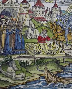Master of Gruninger Folio with handcolored woodcut - Virgil - Aeneid - The Death of Pallas - 1529