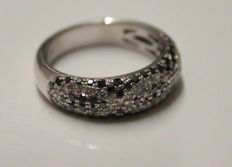 18 kt White gold ring with diamond, Ring size: 17