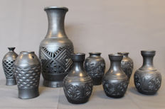 Black Pottery from the Shandong Longshan Culture (3 sets, 8 vases in total ) - Zhangqiu Longshan - late 20th century