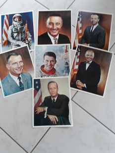 First seven US astronauts, most signed - RARE