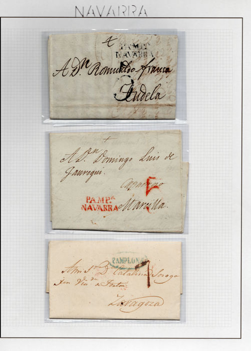 Spain 1825/1938 - Collection of postal history from Navarre.