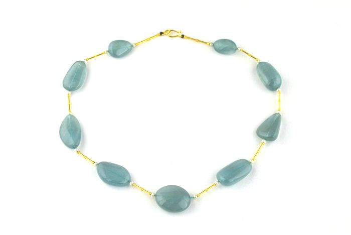 Antique Necklace with Natural Turquoise color Stones/Pebbles set with White Pearls and 18k Yellow Gold - Length 42cm