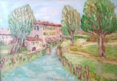 Artist unknown (XX century) - Roggia alla cascina Morivione (Irrigation ditch at cascina Morivione)