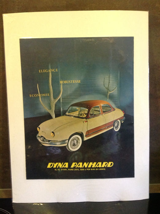 """Panhard - Lot of 4 advertising documents; originals of that period about the """"Dyna Panhard"""" 1958"""