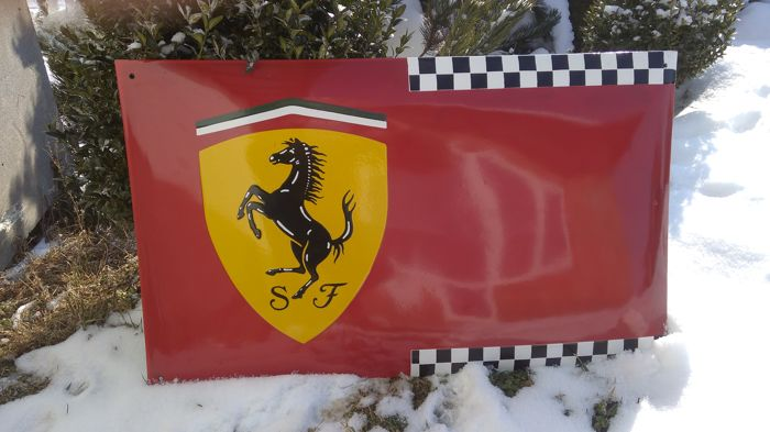 Big - Ferrari - porcelain enameled metal sign 75/45cm .