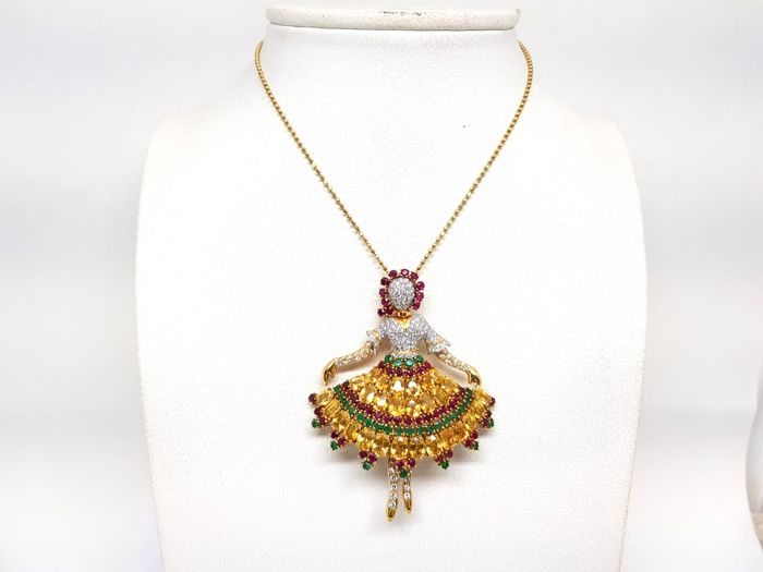 Image 3 of 18 kt. Yellow gold - Necklace with pendant Mixed - Emerald, Ruby, Sapphire