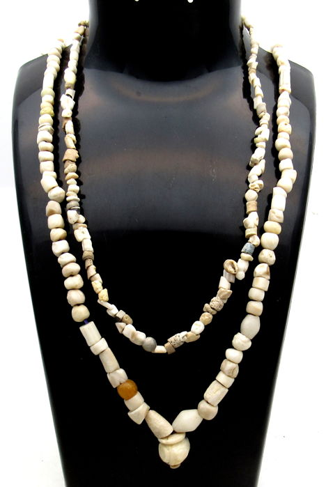 Pair of Ancient Indus Valley Harappa Necklaces with Stone Beads - 370-525mm