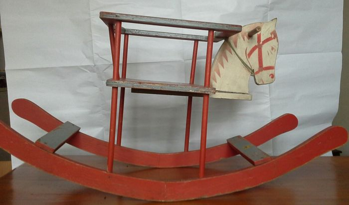 Wooden rocking horse - made in Ohrdruf, a city in Thuringia, between Erfurt and Nuremberg - 1940s/50s