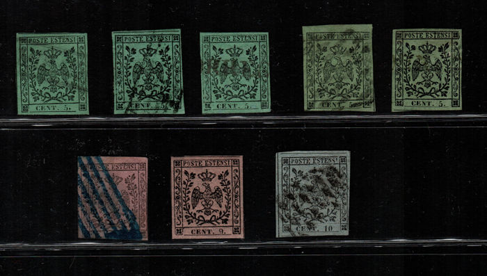 Modena 1852 - Selection of stamps - Sassone No. 7-8, Tg 2/4