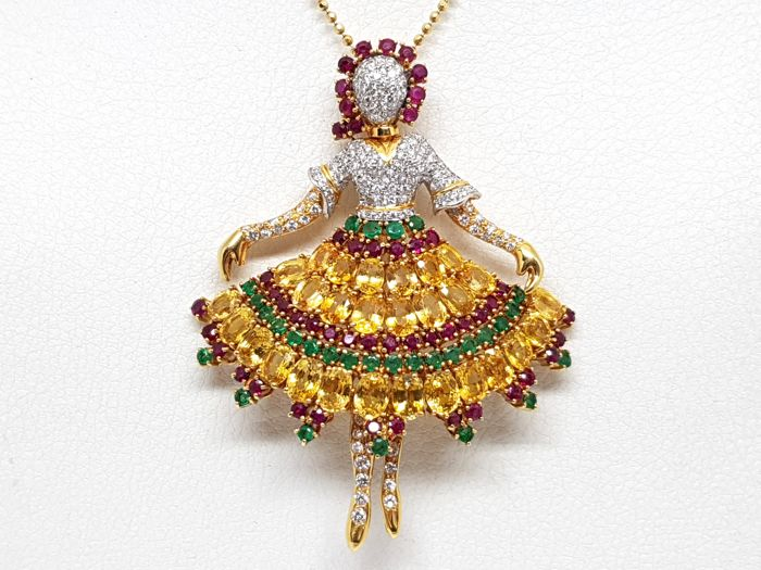 Image 2 of 18 kt. Yellow gold - Necklace with pendant Mixed - Emerald, Ruby, Sapphire