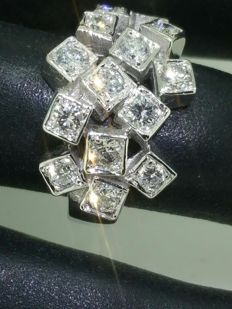 """""""Cube"""" ring with diamonds of 1.30 ct and white gold -size 51 (resizing possible)"""