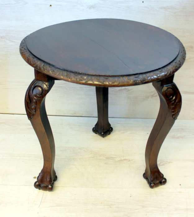 Antique Oak Side Table Round