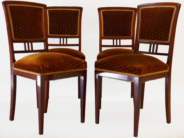 Set Of Mahogany Art Nouveau Dining Room Chairs