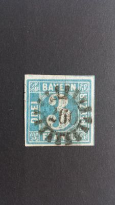 Historic States of Germany, Bavaria, 1849 - Blue 3 Kreuzer