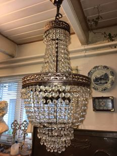 Bag chandelier with facet-cut glass beads, circa 1960