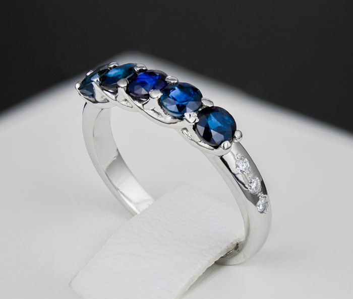 blue sapphires and diamonds 14k gold ring ring size 16 3. Black Bedroom Furniture Sets. Home Design Ideas