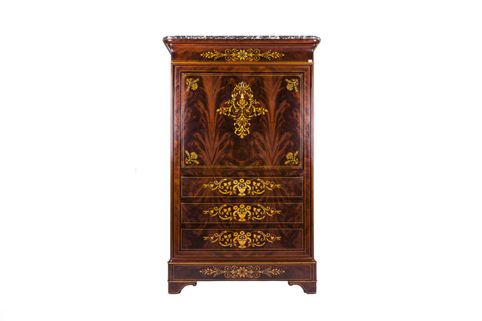 A Louis Philippe mahogany and marquetry secrétaire à abattant, France, circa 1830/1835
