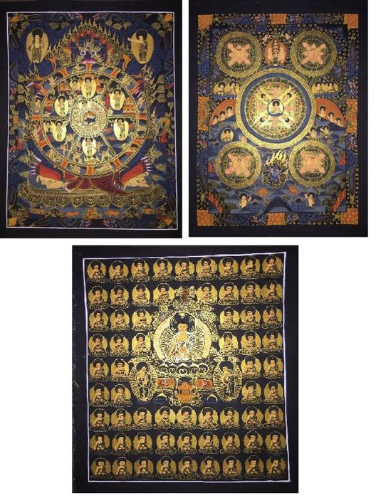 Lot of 3 hand painted Thangkas, Wheel of life and Buddha Mandala- Tibet/Nepal - 21st century