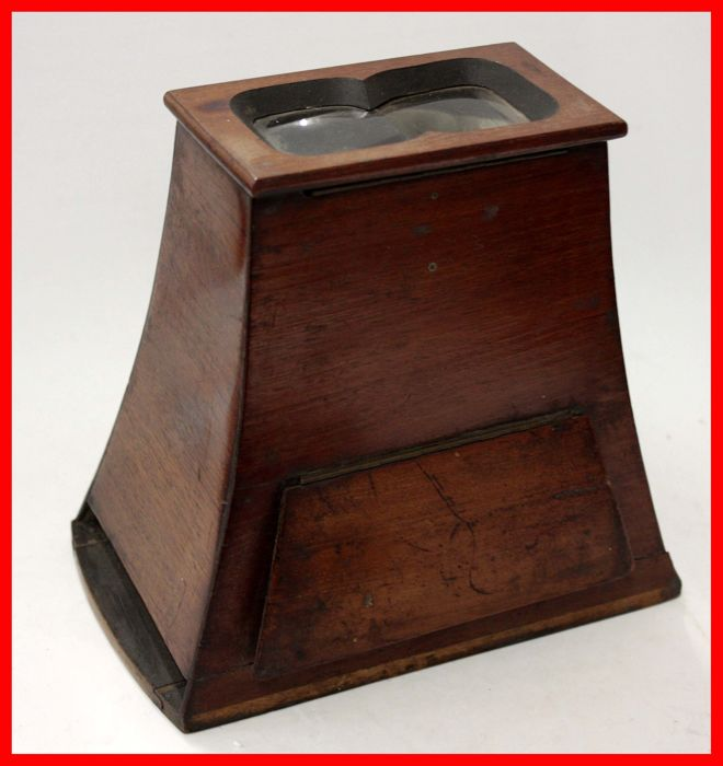 WOODEN STEREOSCOPE  FOR 3D STEREO IMAGES ON GLASS 85 x 180 - 1930s
