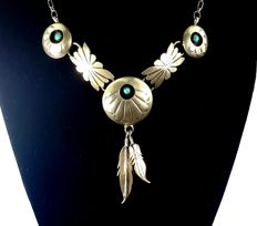 Necklace 925 Silver ( RB mark) with Turquoise, 46 cm long