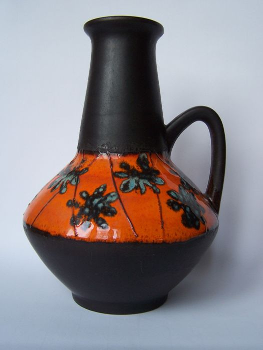 Carstens West Germany enameled ceramic pitcher vase, signed