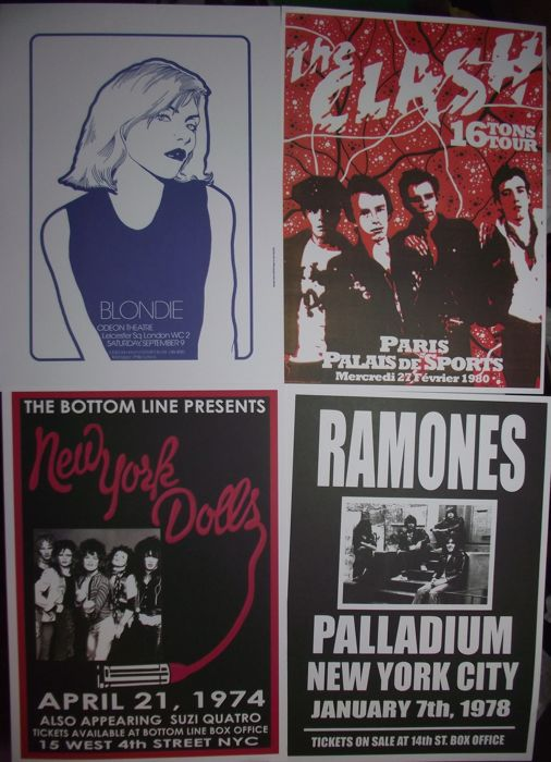 Four very cool, Punk Rock concert posters( reproduction ). Size A3( 42 cm x 30 cm approx ).