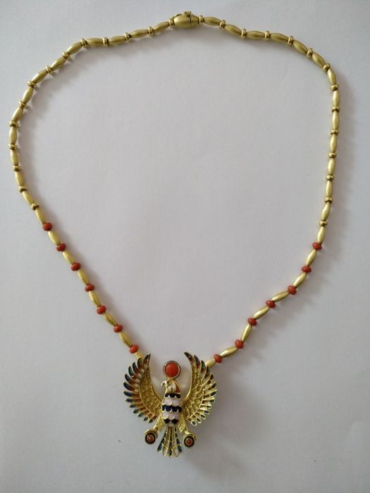 Necklace with pendant 18 kt gold and with enamel