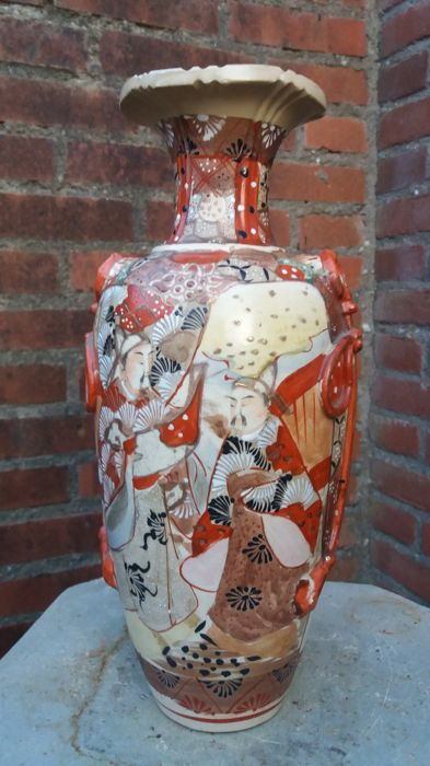 Rare Antique Hand Painted Kyoto Satsuma Vase Japan Around 1920