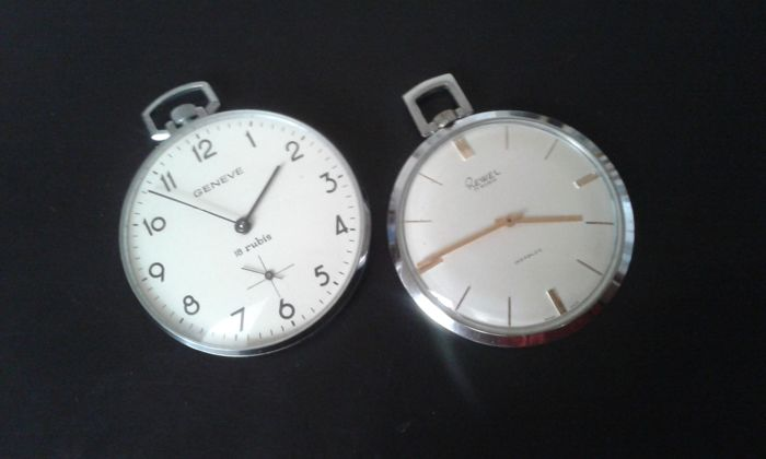 Rewel/Geneve - 2 men's pocket watches - late 20th century