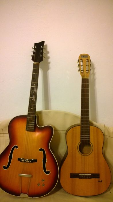 2 guitars hopf and no name guitar with semi hollow body catawiki. Black Bedroom Furniture Sets. Home Design Ideas