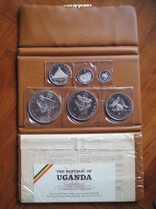 Uganda – 2, 5,  10, 20, 25 and 30 Shillings 1969 'Pope Paul VI Visit' (6 pieces) in set - silver