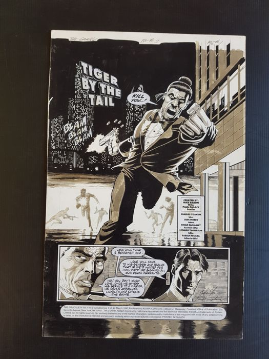 Paul Gulacy - Original Art Splash Page - The Grackle #3 - Page 1 - (1997)