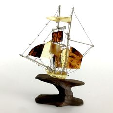 Unique handcrafted amber ship of antique black oak, sterling silver and natural Baltic amber - 13 cm in hight - with gift box