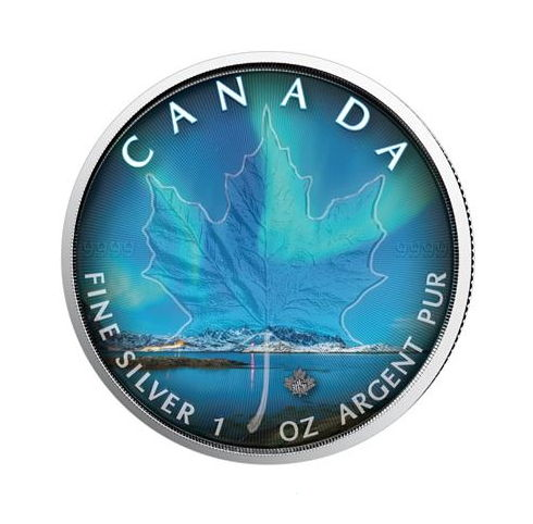 Canada - 5 CAD - Maple Leaf 2018 - Northern Lights Nunavut - 1 oz Silver - Edition of 999 PCs. - Coloured Edition