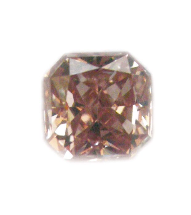 Radiant diamond GIA-certified, Fancy Orange-Brown, 0.17 ct