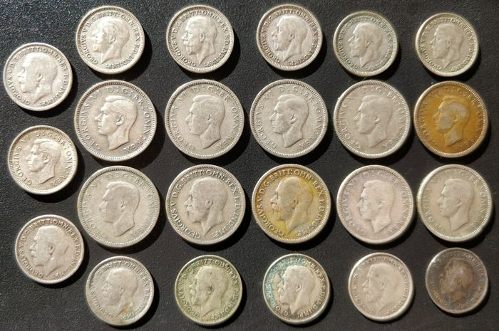 United Kingdom - 3 Pence and 6 Pence 1916-1946 George V and VI (23 pieces) - silver