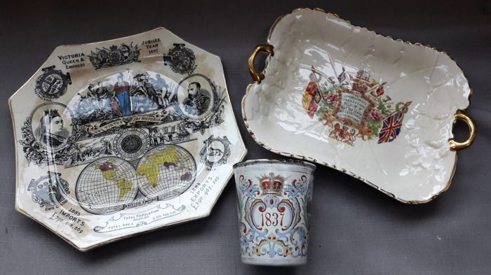 Queen Victoria Jubilee objects: Enamelled cup and 3 plates - England - 1887/1897