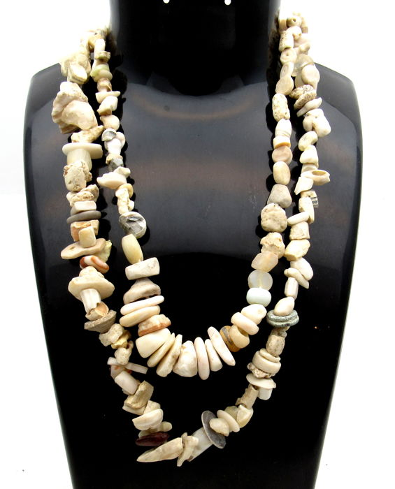 Pair of Ancient Indus Valley Harappa Necklaces with Stone Beads - 375-400mm