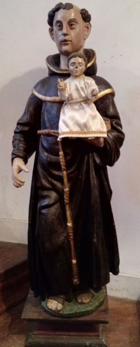 Very large carved and polychrome painted wooden statue of Saint Anthony and Child - 17th / 18th century