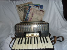 Sorrento Accordion With Collection Of Music Sheets With Hard Carry Case 1970's
