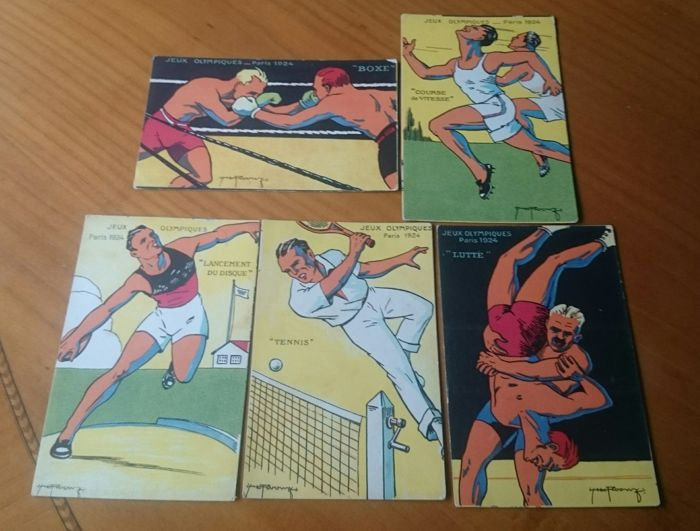 Lot 5 postcards, Paris 1924, Olympic Games, original