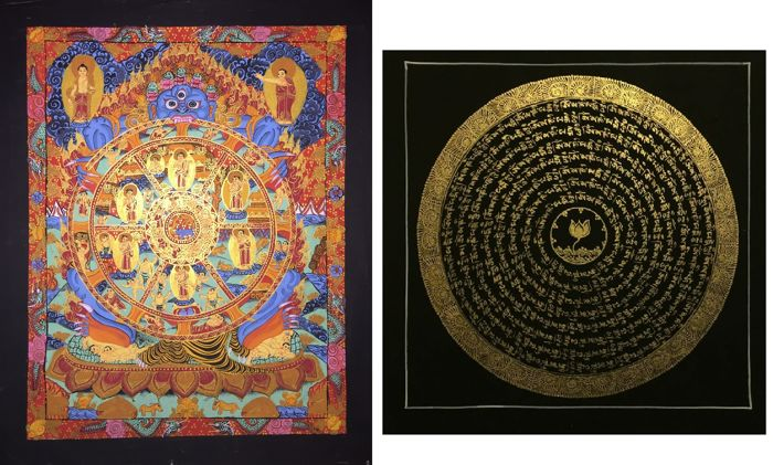 2 lot of Hand painted Thangka painting, representing Wheel of life - Tibet/Nepal - 21st century