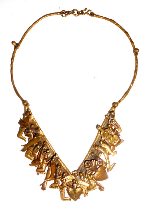 Vintage Milagros Necklace by sculptor Pal Kepenyes Brutalist brass bronze c 1960