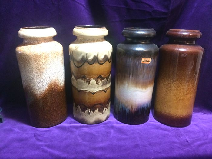 Collection with four Scheurich 517-30 Fat Lava vases