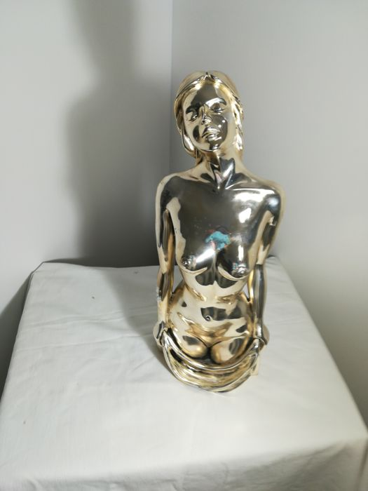 Half-length statue of naked woman in filled silver 925/1000, by Stilarte