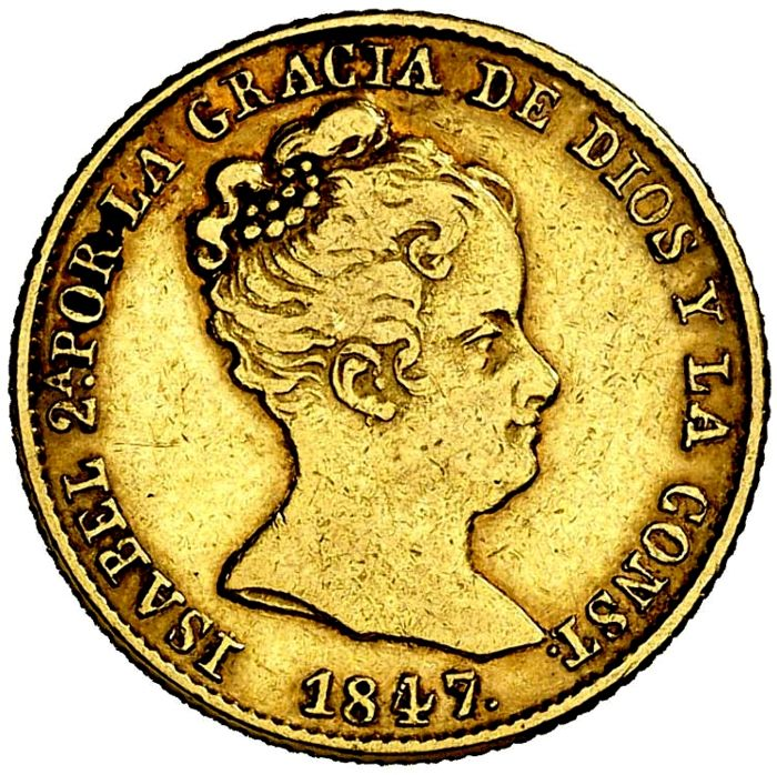 Spain - 80 reales -  Isabel II (1833 - 1848) - ceca de Barcelona, 1847 - Gold