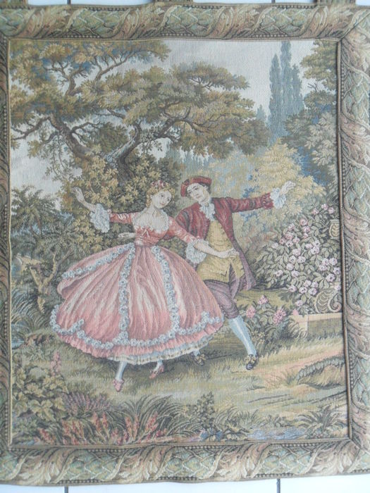 "Aubusson tapestry in polychrome wool, ""'Charme De La Vie' France, 20th century"