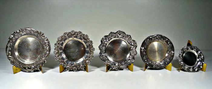 Lot of 5 silver dish´s for tray for wedding rings - Portugal - circa 1940´s